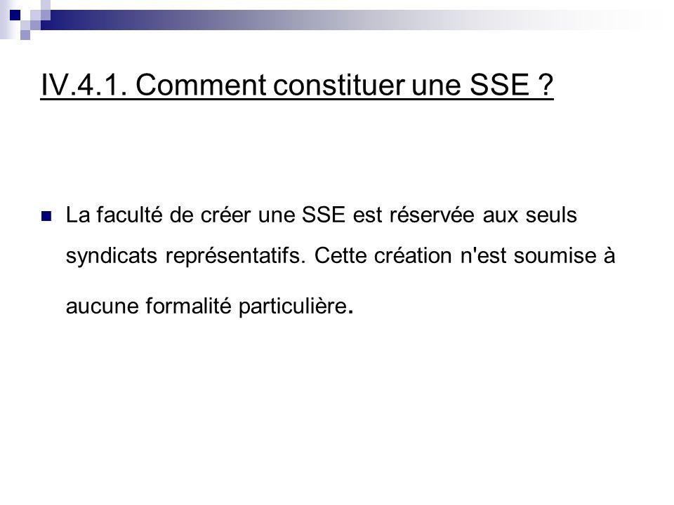 IV.4.1. Comment constituer une SSE .
