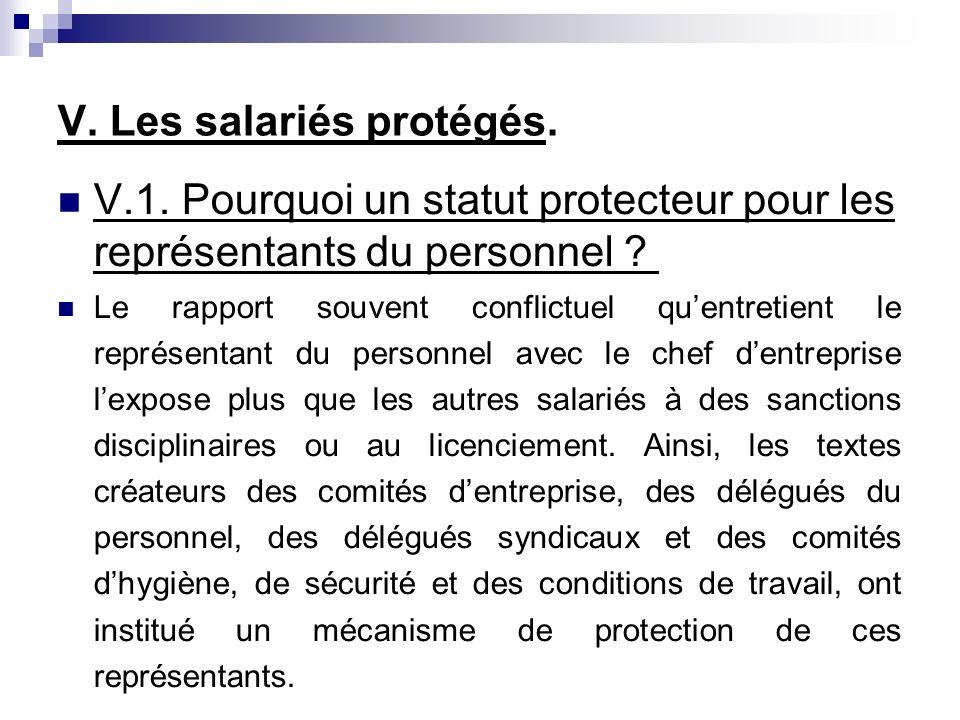 V. Les salariés protégés. V.1.