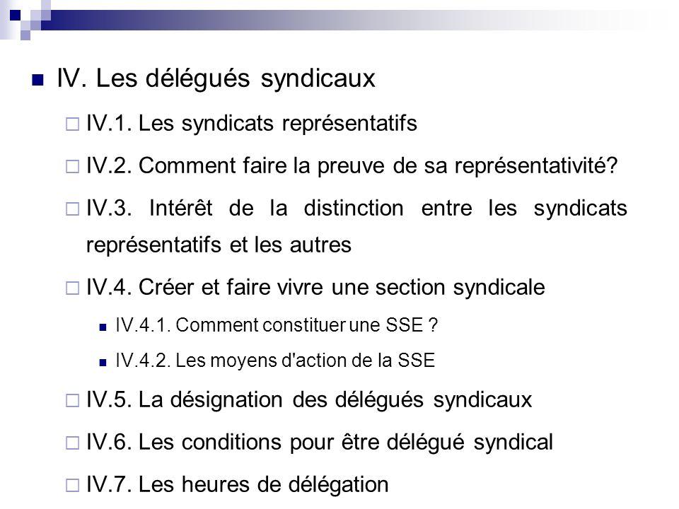 IV. Les délégués syndicaux IV.1. Les syndicats représentatifs IV.2.