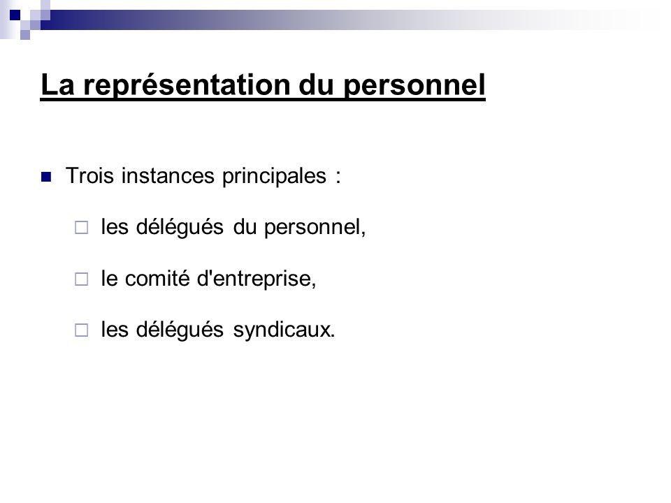 La représentation du personnel Trois instances principales : les délégués du personnel, le comité d entreprise, les délégués syndicaux.