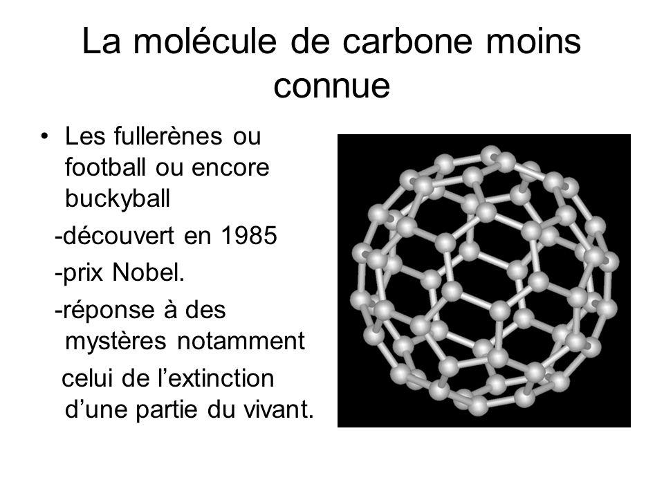 La molécule de carbone moins connue Les fullerènes ou football ou encore buckyball -découvert en 1985 -prix Nobel.