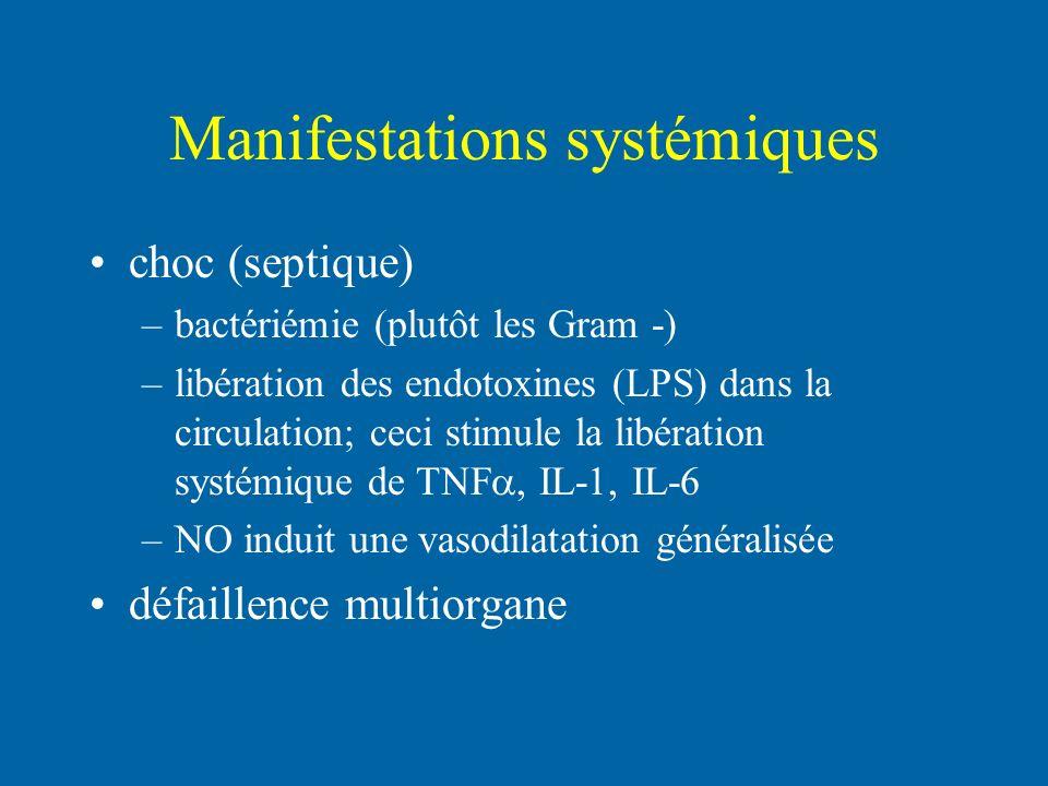 Manifestations systémiques choc (septique) –bactériémie (plutôt les Gram -) –libération des endotoxines (LPS) dans la circulation; ceci stimule la lib