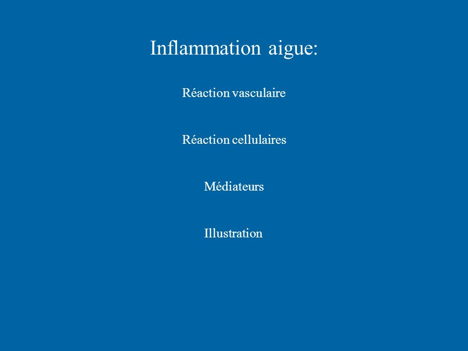 Inflammation aigue: Réaction vasculaire Réaction cellulaires Médiateurs Illustration