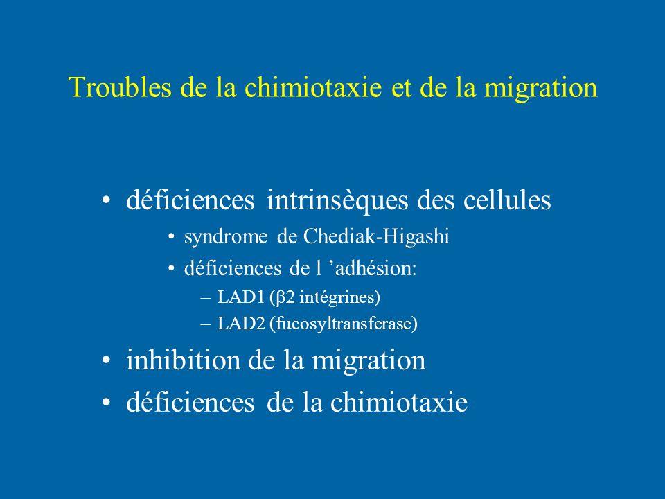 Troubles de la chimiotaxie et de la migration déficiences intrinsèques des cellules syndrome de Chediak-Higashi déficiences de l adhésion: –LAD1 ( int