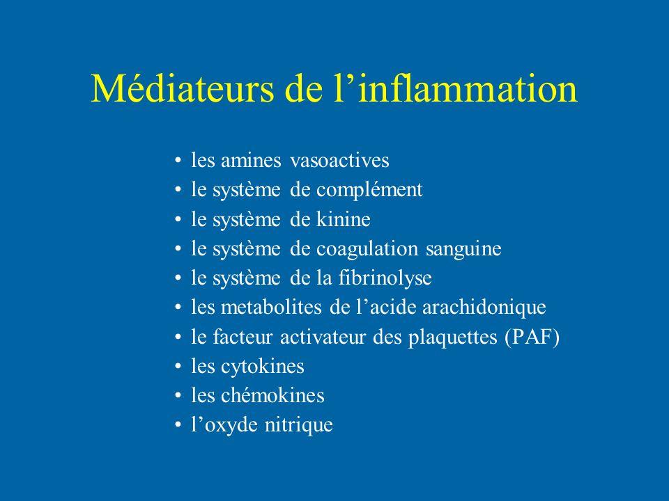 Médiateurs de linflammation les amines vasoactives le système de complément le système de kinine le système de coagulation sanguine le système de la f