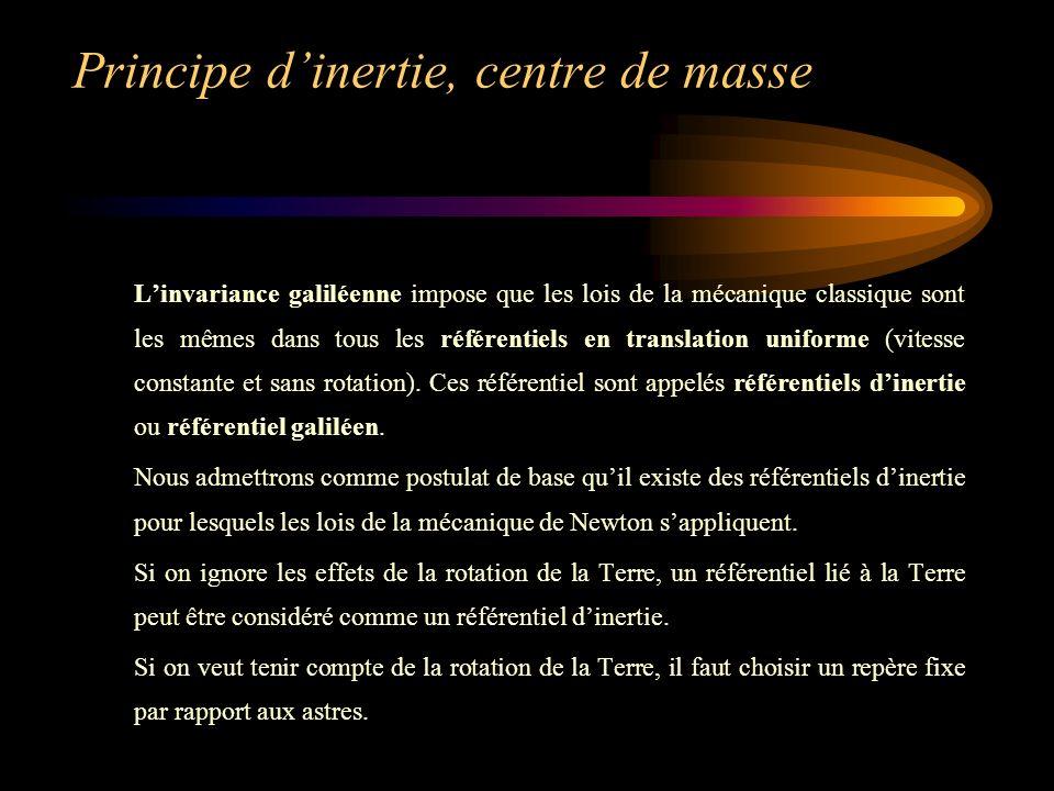 Principe dinertie, centre de masse Linvariance galiléenne impose que les lois de la mécanique classique sont les mêmes dans tous les référentiels en translation uniforme (vitesse constante et sans rotation).