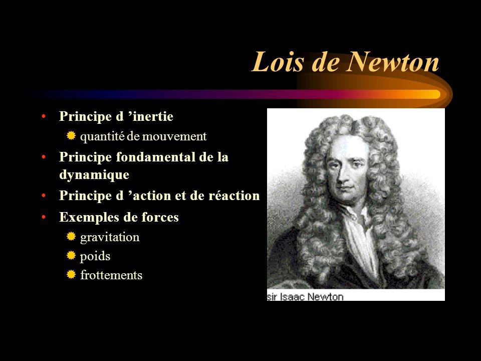 Lois de Newton Principe d inertie quantité de mouvement Principe fondamental de la dynamique Principe d action et de réaction Exemples de forces gravitation poids frottements