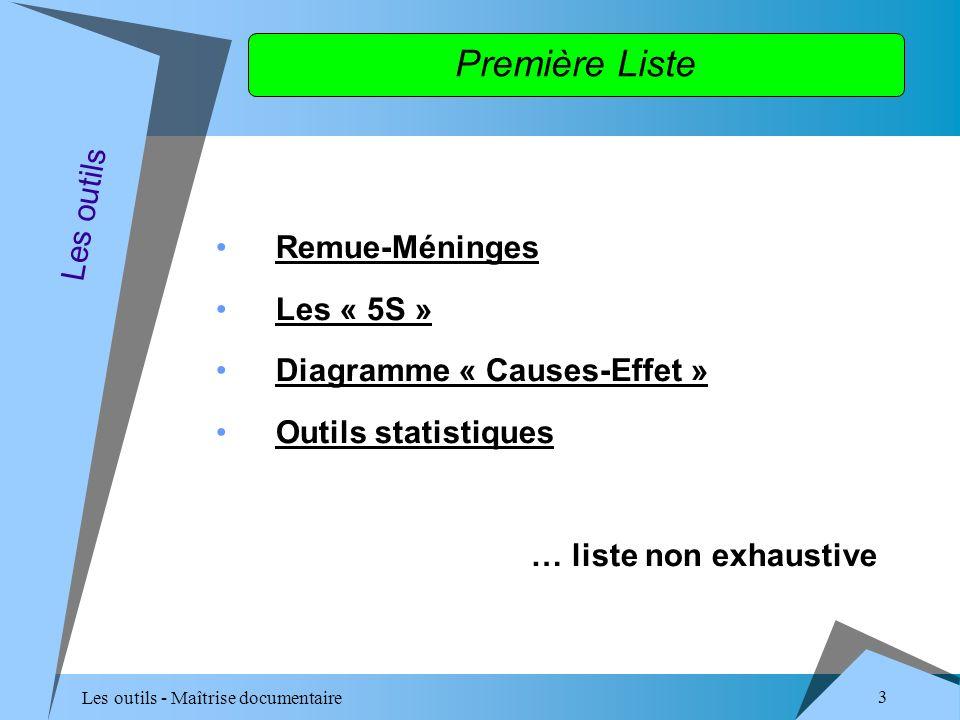 Les outils - Maîtrise documentaire 3 Première Liste Remue-Méninges Les « 5S » Diagramme « Causes-Effet » Outils statistiques … liste non exhaustive Les outils