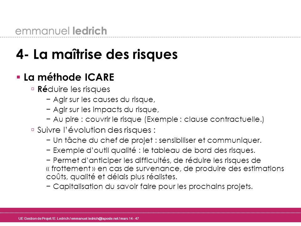 UE Gestion de Projet / E. Ledrich / emmanuel.ledrich@laposte.net / mars 14 - 47 4- La maîtrise des risques La méthode ICARE Ré duire les risques Agir