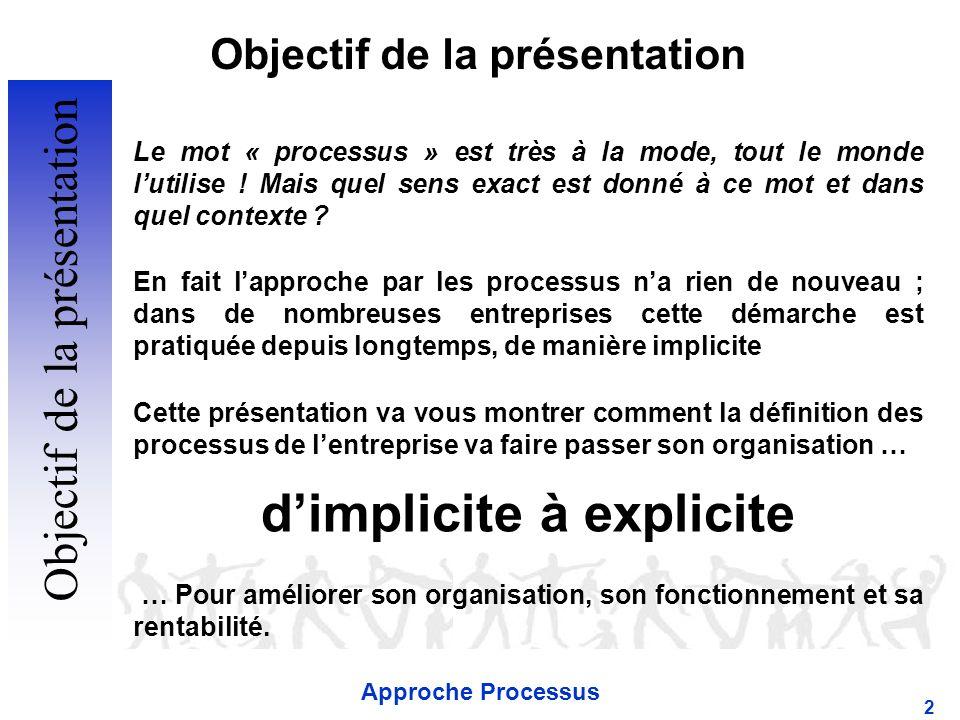 Approche Processus 2 Objectif de la présentation Le mot « processus » est très à la mode, tout le monde lutilise .