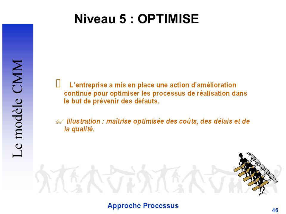Approche Processus 46 Niveau 5 : OPTIMISE Le modèle CMM