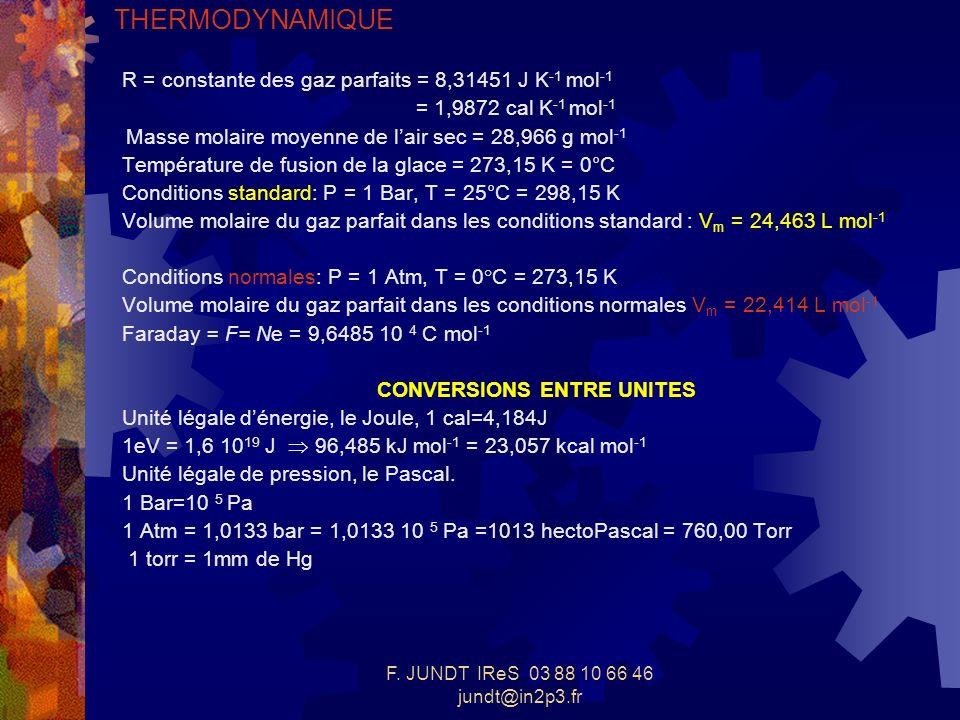 F. JUNDT IReS 03 88 10 66 46 jundt@in2p3.fr THERMODYNAMIQUE R = constante des gaz parfaits = 8,31451 J K -1 mol -1 = 1,9872 cal K -1 mol -1 Masse mola