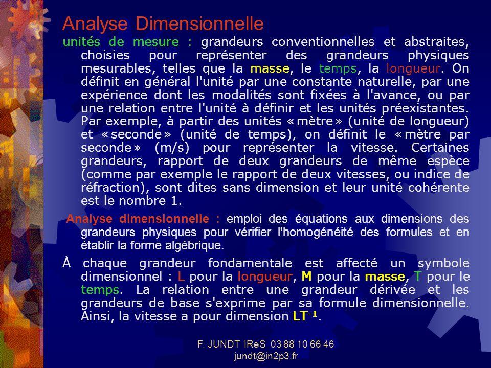 F. JUNDT IReS 03 88 10 66 46 jundt@in2p3.fr Analyse Dimensionnelle unités de mesure : grandeurs conventionnelles et abstraites, choisies pour représen
