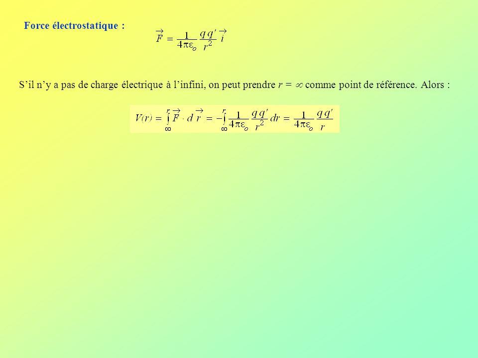 Force électrostatique : Sil ny a pas de charge électrique à linfini, on peut prendre r = comme point de référence. Alors :