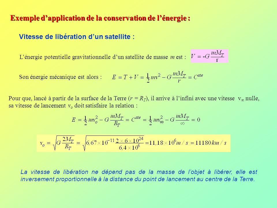 Exemple dapplication de la conservation de lénergie : Vitesse de libération dun satellite : Lénergie potentielle gravitationnelle dun satellite de mas
