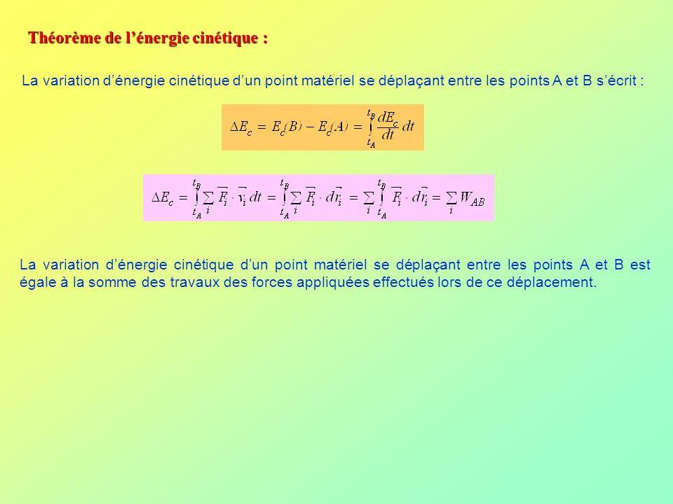 Théorème de lénergie cinétique : La variation dénergie cinétique dun point matériel se déplaçant entre les points A et B sécrit : La variation dénergi