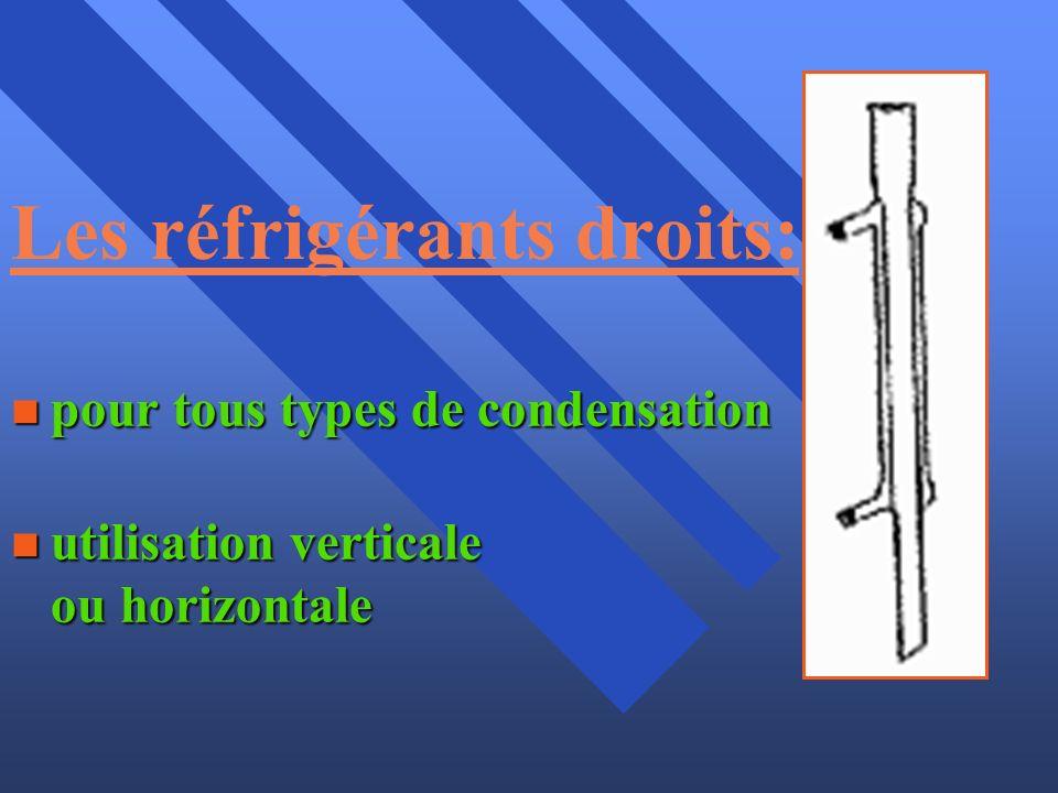 Les réfrigérants droits: n pour tous types de condensation n utilisation verticale ou horizontale