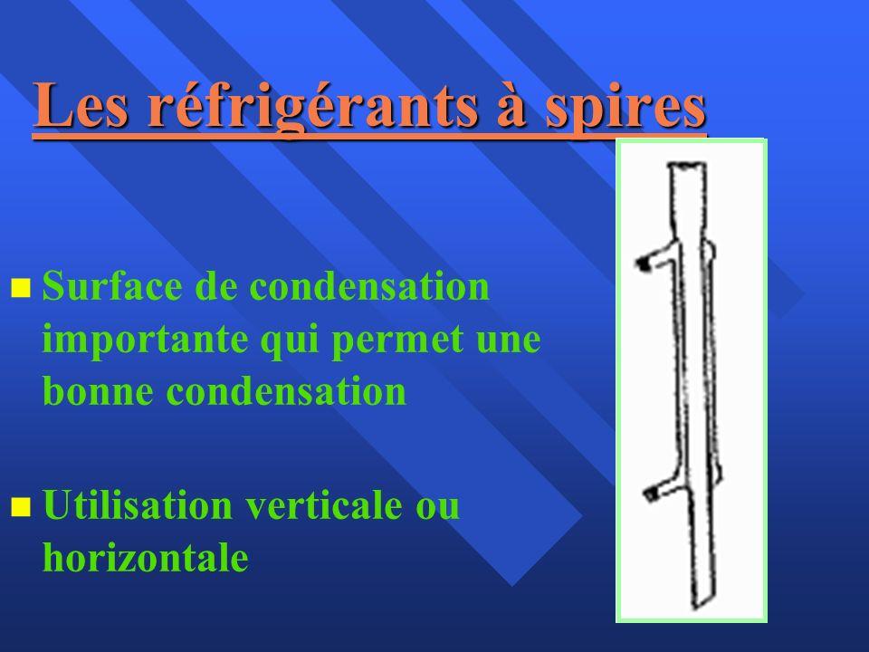 Les réfrigérants à spires n n Surface de condensation importante qui permet une bonne condensation n n Utilisation verticale ou horizontale