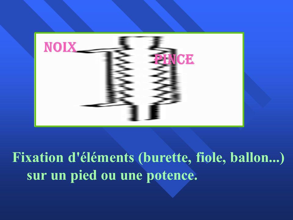 Noix Pince Fixation d éléments (burette, fiole, ballon...) sur un pied ou une potence.