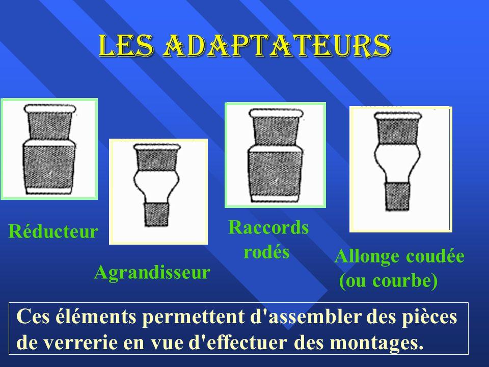 Les adaptateurs Réducteur Agrandisseur Raccords rodés Allonge coudée (ou courbe) Ces éléments permettent d assembler des pièces de verrerie en vue d effectuer des montages.