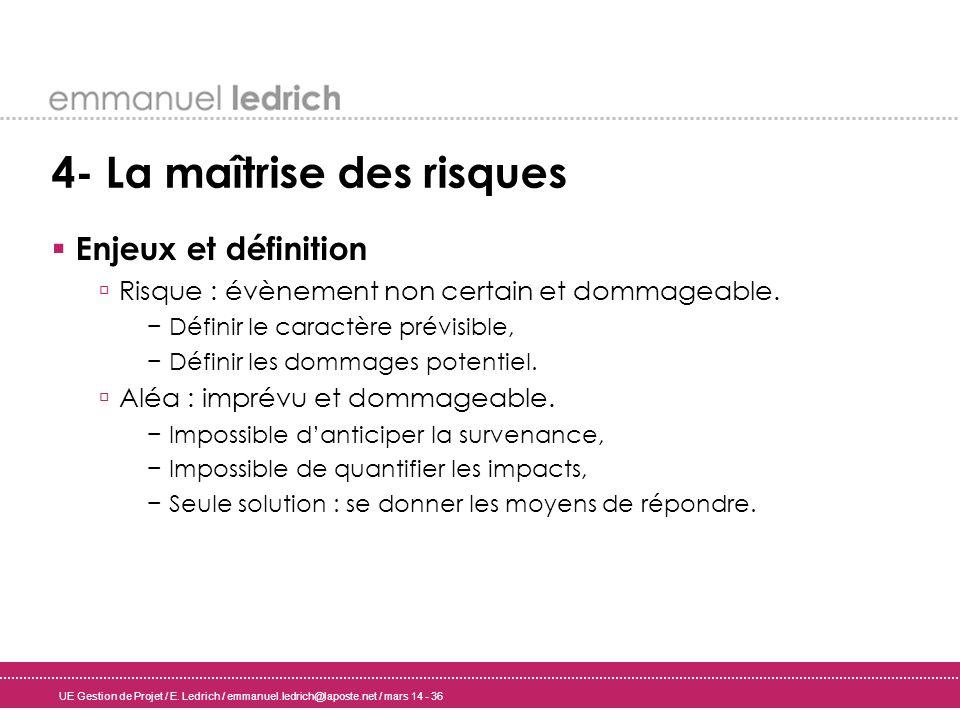 UE Gestion de Projet / E. Ledrich / emmanuel.ledrich@laposte.net / mars 14 - 36 4- La maîtrise des risques Enjeux et définition Risque : évènement non