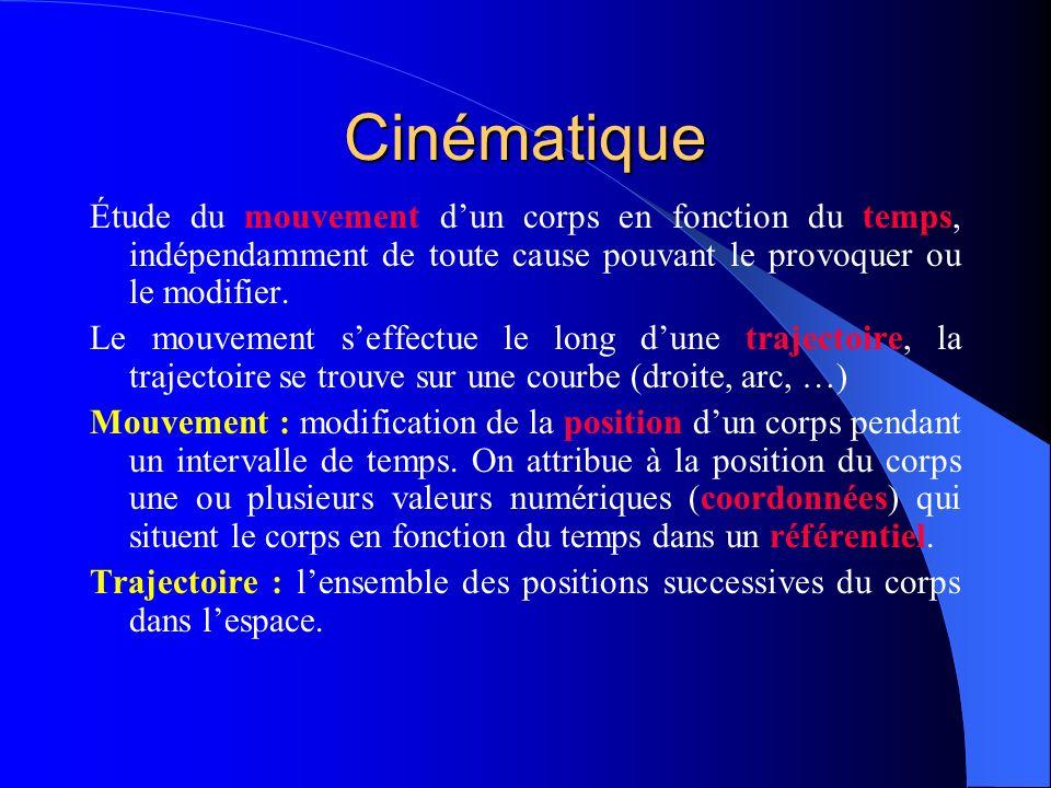 Cinématique Étude du mouvement dun corps en fonction du temps, indépendamment de toute cause pouvant le provoquer ou le modifier. Le mouvement seffect