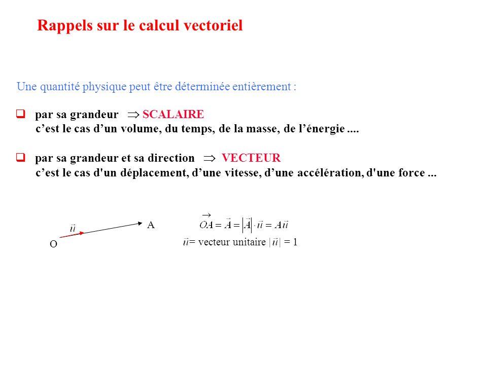 Une quantité physique peut être déterminée entièrement : par sa grandeur SCALAIRE cest le cas dun volume, du temps, de la masse, de lénergie.... par s