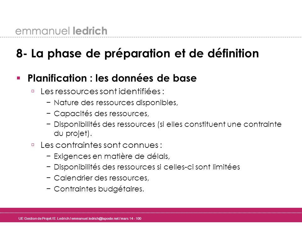 UE Gestion de Projet / E. Ledrich / emmanuel.ledrich@laposte.net / mars 14 - 100 8- La phase de préparation et de définition Planification : les donné
