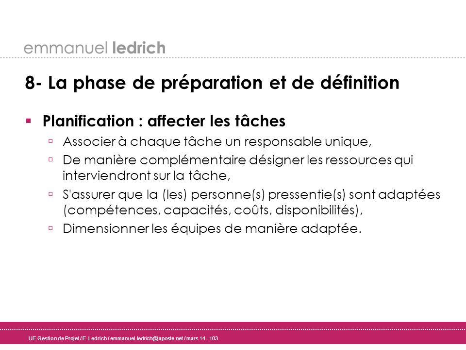 UE Gestion de Projet / E. Ledrich / emmanuel.ledrich@laposte.net / mars 14 - 103 8- La phase de préparation et de définition Planification : affecter