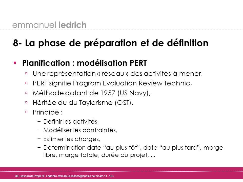 UE Gestion de Projet / E. Ledrich / emmanuel.ledrich@laposte.net / mars 14 - 104 8- La phase de préparation et de définition Planification : modélisat