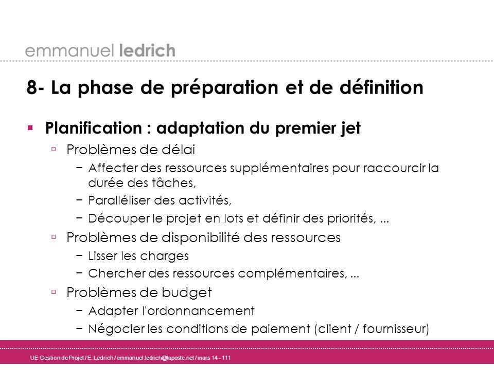 UE Gestion de Projet / E. Ledrich / emmanuel.ledrich@laposte.net / mars 14 - 111 8- La phase de préparation et de définition Planification : adaptatio