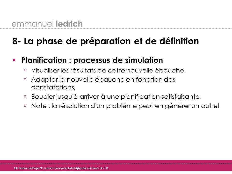 UE Gestion de Projet / E. Ledrich / emmanuel.ledrich@laposte.net / mars 14 - 112 8- La phase de préparation et de définition Planification : processus