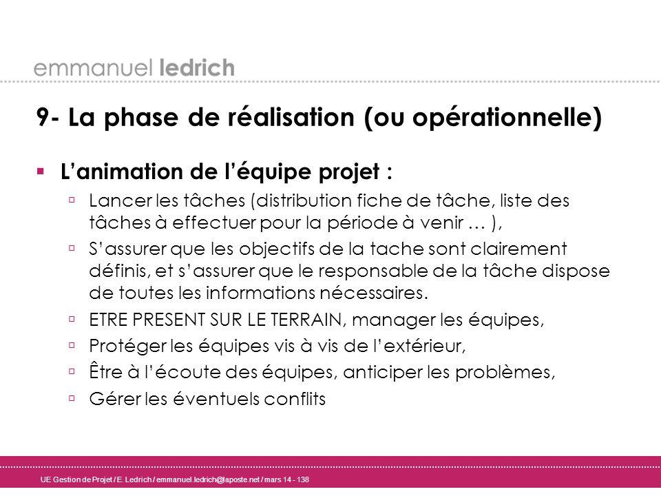 UE Gestion de Projet / E. Ledrich / emmanuel.ledrich@laposte.net / mars 14 - 138 9- La phase de réalisation (ou opérationnelle) Lanimation de léquipe