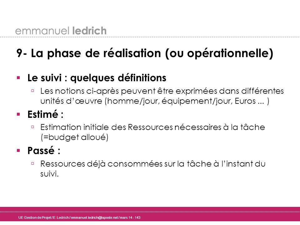 UE Gestion de Projet / E. Ledrich / emmanuel.ledrich@laposte.net / mars 14 - 143 9- La phase de réalisation (ou opérationnelle) Le suivi : quelques dé