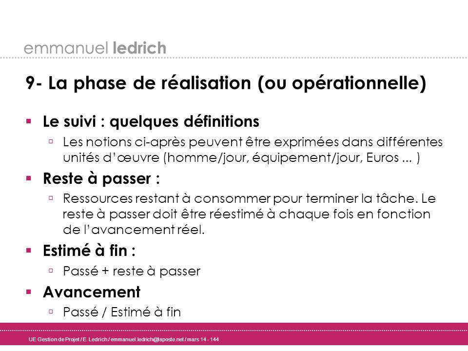UE Gestion de Projet / E. Ledrich / emmanuel.ledrich@laposte.net / mars 14 - 144 9- La phase de réalisation (ou opérationnelle) Le suivi : quelques dé