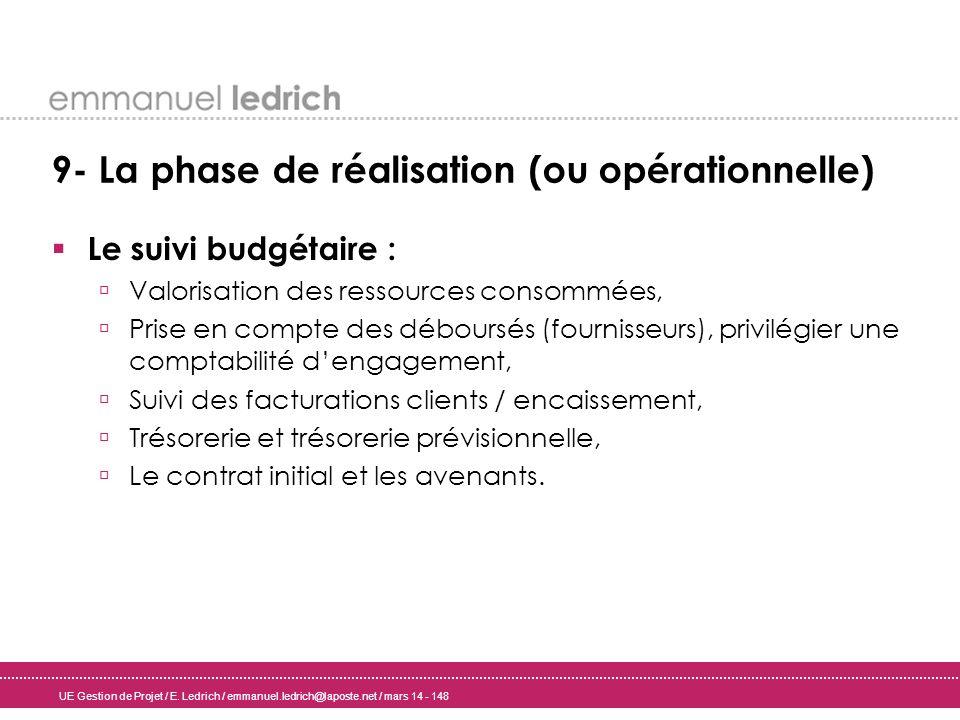 UE Gestion de Projet / E. Ledrich / emmanuel.ledrich@laposte.net / mars 14 - 148 9- La phase de réalisation (ou opérationnelle) Le suivi budgétaire :