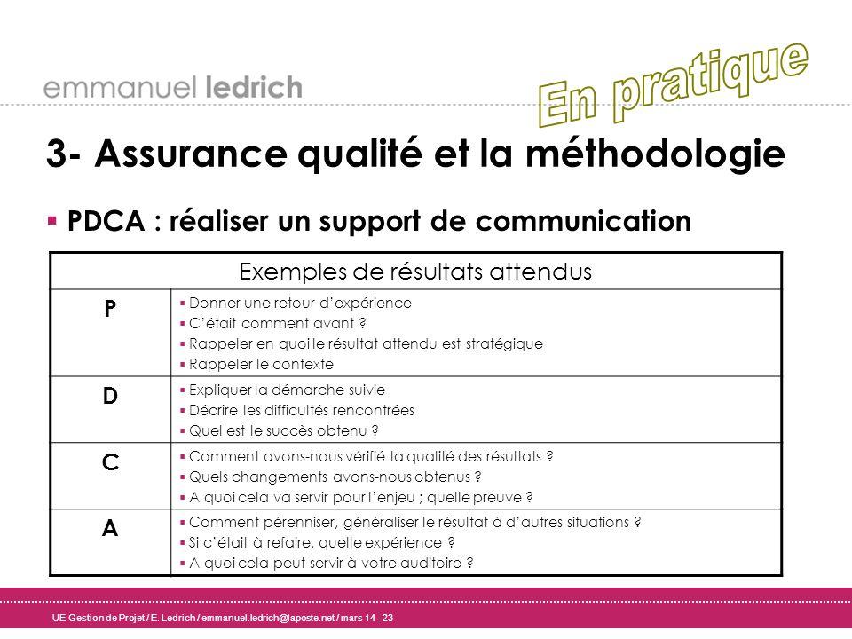 UE Gestion de Projet / E. Ledrich / emmanuel.ledrich@laposte.net / mars 14 - 23 3- Assurance qualité et la méthodologie PDCA : réaliser un support de