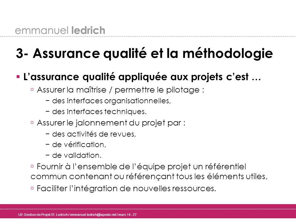 UE Gestion de Projet / E. Ledrich / emmanuel.ledrich@laposte.net / mars 14 - 27 3- Assurance qualité et la méthodologie Lassurance qualité appliquée a