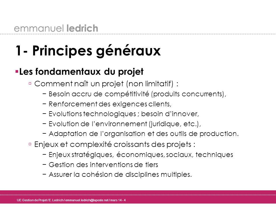 UE Gestion de Projet / E. Ledrich / emmanuel.ledrich@laposte.net / mars 14 - 4 1- Principes généraux Les fondamentaux du projet Comment naît un projet