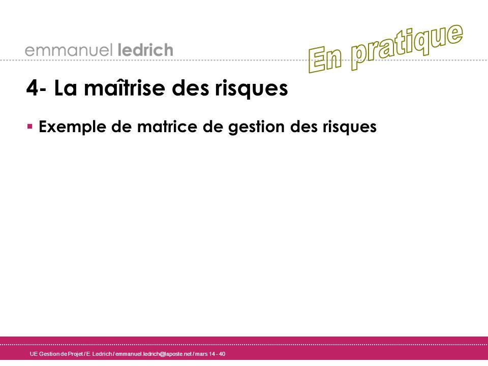 UE Gestion de Projet / E. Ledrich / emmanuel.ledrich@laposte.net / mars 14 - 40 4- La maîtrise des risques Exemple de matrice de gestion des risques