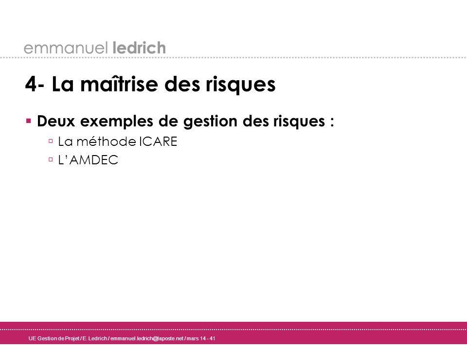 UE Gestion de Projet / E. Ledrich / emmanuel.ledrich@laposte.net / mars 14 - 41 4- La maîtrise des risques Deux exemples de gestion des risques : La m