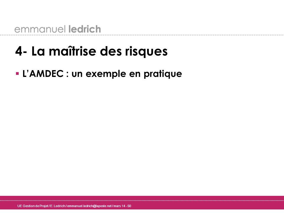 UE Gestion de Projet / E. Ledrich / emmanuel.ledrich@laposte.net / mars 14 - 50 4- La maîtrise des risques LAMDEC : un exemple en pratique