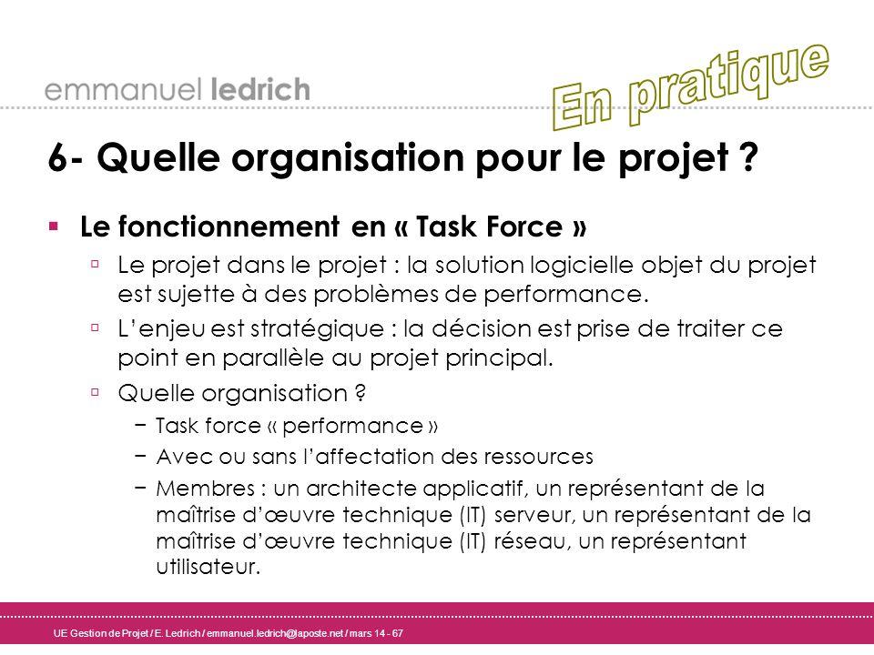 UE Gestion de Projet / E. Ledrich / emmanuel.ledrich@laposte.net / mars 14 - 67 6- Quelle organisation pour le projet ? Le fonctionnement en « Task Fo