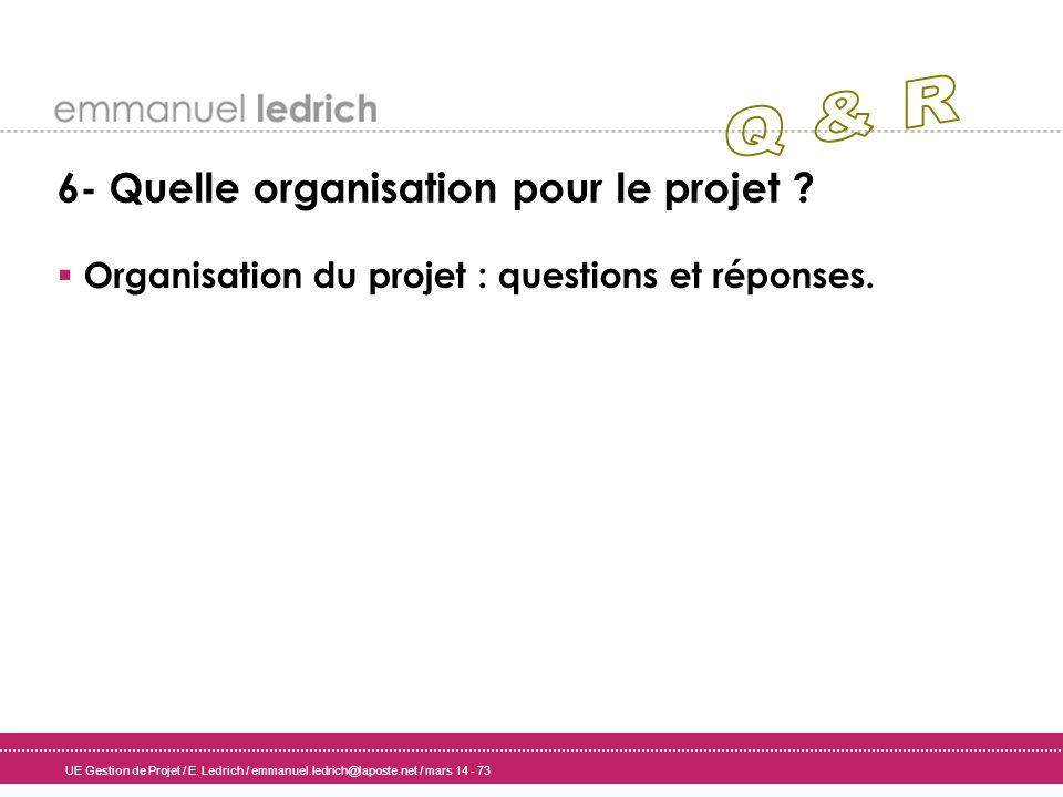 UE Gestion de Projet / E. Ledrich / emmanuel.ledrich@laposte.net / mars 14 - 73 6- Quelle organisation pour le projet ? Organisation du projet : quest