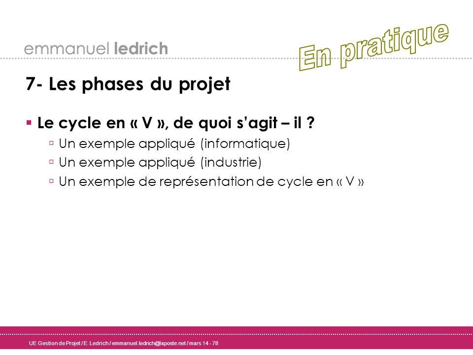 UE Gestion de Projet / E. Ledrich / emmanuel.ledrich@laposte.net / mars 14 - 78 7- Les phases du projet Le cycle en « V », de quoi sagit – il ? Un exe