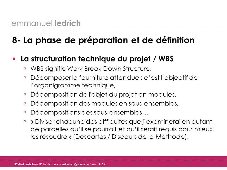 UE Gestion de Projet / E. Ledrich / emmanuel.ledrich@laposte.net / mars 14 - 89 8- La phase de préparation et de définition La structuration technique