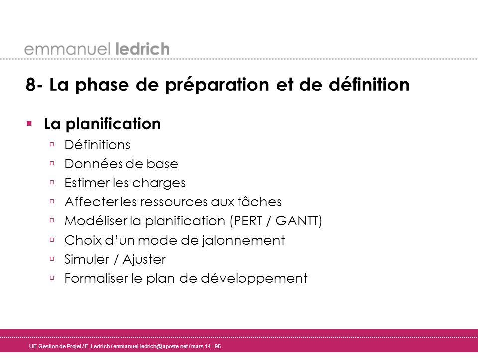 UE Gestion de Projet / E. Ledrich / emmanuel.ledrich@laposte.net / mars 14 - 95 8- La phase de préparation et de définition La planification Définitio