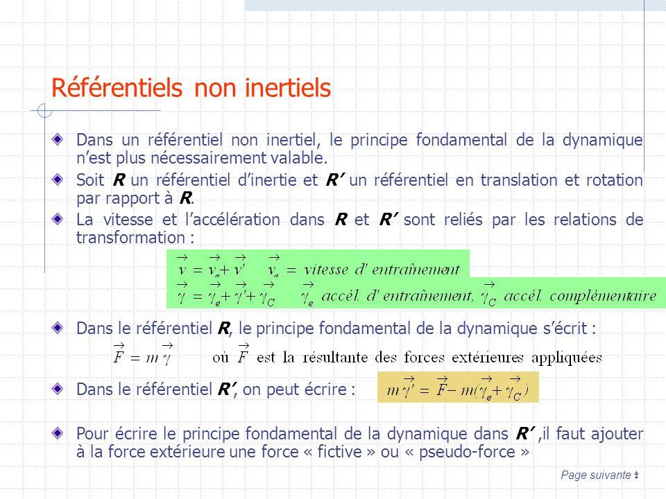 Référentiels non inertiels Dans un référentiel non inertiel, le principe fondamental de la dynamique nest plus nécessairement valable. Soit R un référ