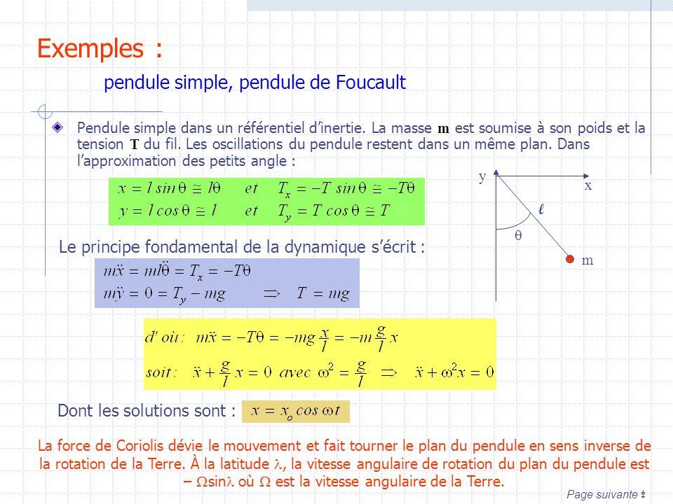 Pendule simple dans un référentiel dinertie. La masse m est soumise à son poids et la tension T du fil. Les oscillations du pendule restent dans un mê