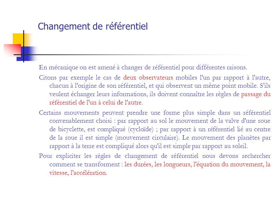 Changement de référentiel En mécanique on est amené à changer de référentiel pour différentes raisons. Citons par exemple le cas de deux observateurs